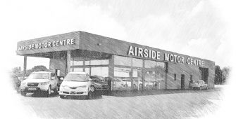 Motor showroom and forecourt
